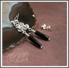 Silver earrings with agates
