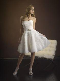 ♥Neu Kurz Strand Brautkleid Hochzeitskleid Spitze/Tüll Trägerlos+Abendkleid++++♥