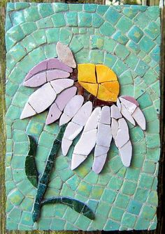 Purple Coneflower mosaic with the flower made with Mexican smalti and the background a turquoise in Morocco made ceramic tiles. Mosaic Garden Art, Mosaic Tile Art, Mosaic Artwork, Mosaic Diy, Mosaic Crafts, Mosaic Projects, Stained Glass Projects, Mosaic Rocks, Stone Mosaic