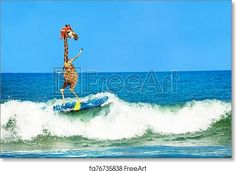 Giraffe wear cap surf on surfboard in sea waves - Artwork - Art Print from FreeArt.com Surf Guys, Art Painting, Print Pictures, Canvas Prints, Wall Art, Small Art Prints, Illustration Art, Art, Free Art Prints
