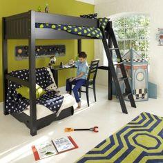 warwick high sleeper with childs futon - prussian blue