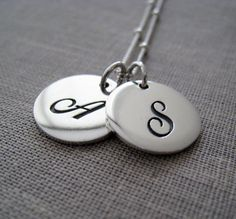 Sterling silver double initial necklace by thejewelrybar on Etsy, $58.00