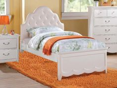 Cecilie Youth PU Headboard Bed in White by Acme Furniture