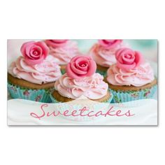 Pink n' Teal Rose Cupcake Bakery Business Cards $23.95 -- click for sales!!!