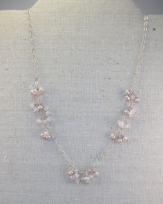 Blush freshwater button pearls and faceted rose quartz gemstones sterling silver necklace - pinned by pin4etsy.com