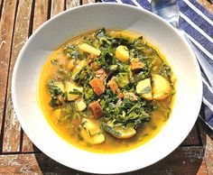 Caldo Verde ~ Classic Portuguese Kale Soup. This soup, a Portuguese classic, is a dish I had never come across until a few days ago. I was having a late lunch with a friend, her parents are from Portugal, and talk turned to favourite foods and recipes. She mentioned a favourite recipe, one that her father always makes at home, and I knew I had to try it. Of course, anything containing Kale gets my attention immediately, and so I wasted no time in making this today and was absolutely blown...