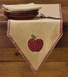 "Burlap Apple Table Runner 13"" x 60"" @ CountryPorch.com"