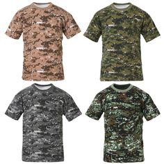 Mens Military Tactical Digital Camoflage T Shirts Army Combat Uniform Tee XS XL | eBay