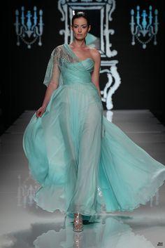 Flowing aqua gown - Abed Mahfouz 2012