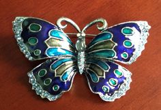 Bright Blue Butterfly Brooch blue enamel and by PassingTides