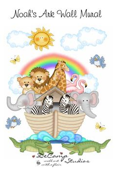 """Noah's Ark Wall Mural for baby boy girl animal nursery or any children's room decor. Great for church nursery or any childcare decor. Measures 30"""" Tall (76cm) and 24"""" Wide (60.96cm) #decampstudios"""