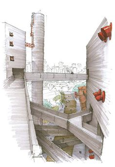 Marker rendering - Architectural drawings    Been here.. old shanghai slaughterhouse