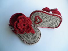 Crochet baby sandals, baby gladiator sandals, baby booties, baby shoes ♡