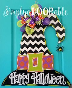 Witch Hat Wood Door Hanger. Simply aDOORableNC.  Chevron Witch