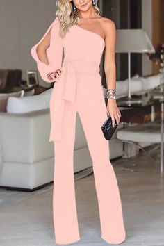SPECIFICATIONS: Product Name Stylish One Shoulder Long Sleeves Jumpsuit Brand Swankmyway SKU Gender Women Style Elegant/Sexy/Fashion Type Jumpsuit Occasion Party/Vacation/Daily Life Material Polyester Sleeve Long Sleeves Decoration Solid Similar Product Long Jumpsuits, Jumpsuits For Women, Overall Lang, Rosa Pullover, Look Fashion, Fashion Outfits, Womens Fashion, Fashion Ideas, Fashion 2018