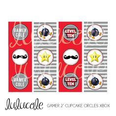 Game Truck Video Game Birthday Party Personalized Cupcake Toppers XBOX - Printable by lulucole on Etsy