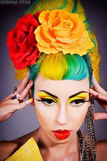 Hair/ Yellow Green ---- Eye Makeup/Yellow Orange ---- Raquel Reed