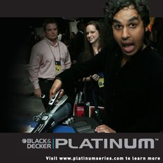 Kunal Nayyar from The Big Bang Theory is testing out a new Platinum Hand Vac backstage at the Emmys
