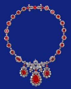 From Her Majestys Jewel Vault: The Baring Ruby Necklace-Queen Elizabeth acquired this necklace in 1964.
