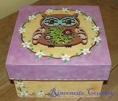 Caja de mdf decorado con la técnica Pintura Country.