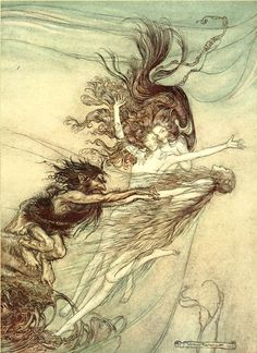 'The Rhine-Maidens teasing Alberich' by Arthur Rackham. From Wagner's Das Rheingold.