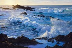 The Artwork of Susanne Leasure – California Seascapes Ocean Art, Watercolors, Landscapes, Waves, California, Sky, Beach, Artwork, Painting