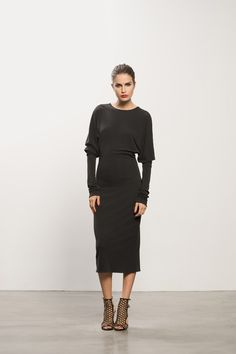 Exaggerated Long Sleeve Jersey Dress with Submission Studded Sandal #studs