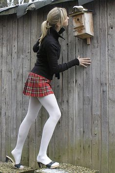 Grey Tights, Tights And Boots, Tights Outfit, Wool Tights, Opaque Tights, Plaid Skirts, Mini Skirts, Pantyhose Outfits, Pantyhose Fashion