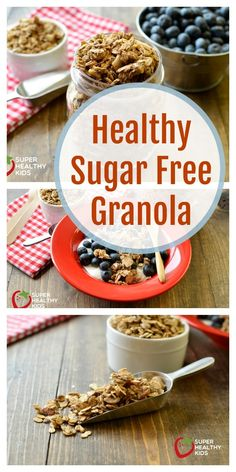 To make this healthy sugar free granola recipe crunchy, we used oats, nuts and seeds. Healthy Sugar, Healthy Snacks, Healthy Recipes, Healthy Granola Recipe, Kid Snacks, Diabetic Snacks, Protein Recipes, Healthy Fats, Breakfast