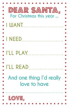 a tweaked version of the 4 gifts list - printable