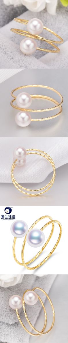 [YS] Free Shipping Pearl Jewelry 5-6mm Tinly Pearl Ring Natural Pearl White Double Akoya Pearl Ring