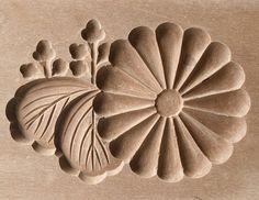 Japanese Antique Kashigata Kiku and Kamon with Cover Carved Wooden Cake Mold | eBay