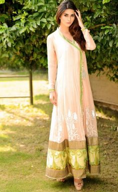 Beige Embroidered Front Open Crinkle Chiffon Party Dress