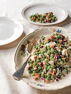 English Pea Salad: Eggs, mayo, and Cheddar cheese lend extra creaminess to this decadent dish. #countryliving #recipes