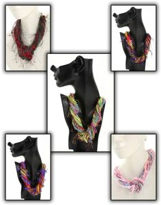 Unique Fiber Necklaces are made from 4-7 novelty yarns and are wound together (not knitted). They can be worn 3 different ways to make 3 different outfit looks: loose, twisted & knotted. Priced at $35/each