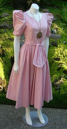 .Vintage 1980s Pale Pink Laura Ashley Boho Dress Great Condition Full Skirt XS-S by WestCoastVintageRSL, $49.00