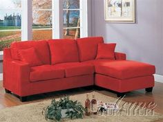 Vogue Red Fabric Reversible Chaise Sectional