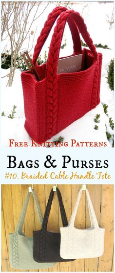 Braided Cable Handle Tote Bag Free Knitting Pattern - #Bags & Purses Free #Knitting Patterns