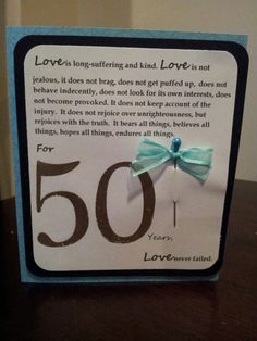 50th anniversary card... for 50 years, loved never failed...