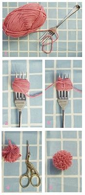 Do it yourself Pom Pom :-  You can make a tiny pom poms with help of fork and thick thread. First of all take a thread and wrap it on the fork as it is shown in the above picture..... click on picture to read full