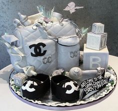 Chanel baby shower cake.