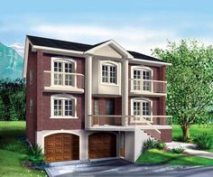 Multi-Family Plan 52765 | Plan with 4505 Sq. Ft., 8 Bedrooms, 5 Bathrooms, 2 Car Garage at family home plans... Looks like a single family home but build and then rent out the extra units?