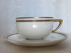 Rosenthal Demitasse Cup Saucer Dainty Red Green Zigzag Pattern Gold Trim 1920s | eBay