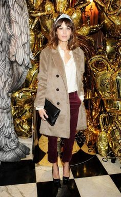 Mix of textures: furry-like coat + velvet trousers