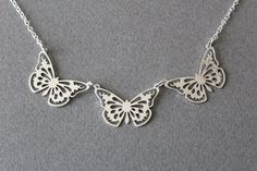 butterfly pendants necklace by GoldenZoo on Etsy