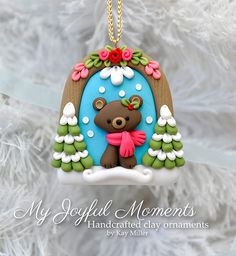Handcrafted Polymer Clay Winter Bear Scene by MyJoyfulMoments