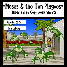 Moses and the Ten Plagues Bible Verse Copywork sheets - available on Teachers Pay Teachers.