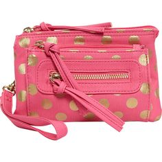 T-Shirt & Jeans Polka Dot Triple Compartment Wristlet ($16) ❤ liked on Polyvore featuring bags, handbags, clutches, pink, wristlet clutches, pink clutches, pink purse, print handbags and polka dot purse