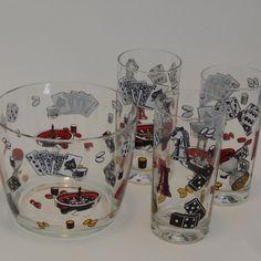 1960s Hazel Atlas Game and Casino Themed Barware by VeejaysVintage