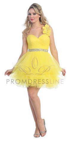 LT5151-Yellow One Shoulder Tiered Ruffle Cocktail Dress LT5151-YL $119.00 on www.PromDressLine.Com